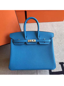 Hermes original epsom leather birkin 30 bag H30-3 blue zanzibar