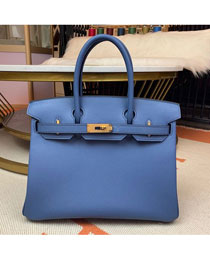 Hermes original epsom leather birkin 30 bag H30-3 blue brighton