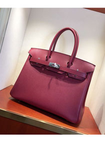 Hermes original epsom leather birkin 30 bag H30-3 rouge grenat