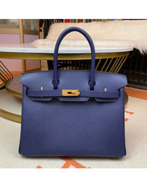 Hermes original epsom leather birkin 30 bag H30-3 royal blue