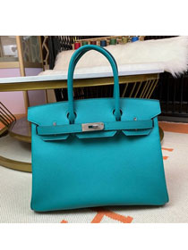 Hermes original epsom leather birkin 30 bag H30-3 blue paon