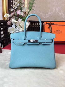 Hermes original togo leather birkin 30 bag H30-1 blue atoll