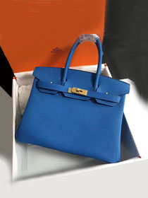Hermes original togo leather birkin 30 bag H30-1 blue hydra
