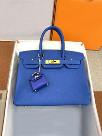 Hermes original togo leather birkin 30 bag H30-1 blue zellige