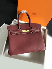 Hermes original togo leather birkin 30 bag H30-1 bordeaux