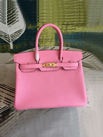 Hermes original togo leather birkin 30 bag H30-1 cherry pink