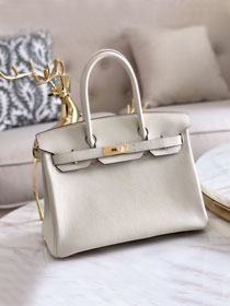 Hermes original togo leather birkin 30 bag H30-1 cream white