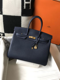 Hermes original togo leather birkin 30 bag H30-1 dark blue