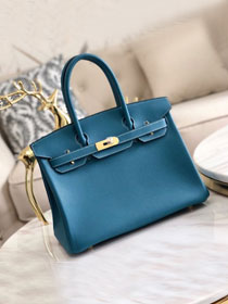 Hermes original togo leather birkin 30 bag H30-1 denim blue