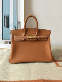 Hermes original togo leather birkin 30 bag H30-1 gold brown