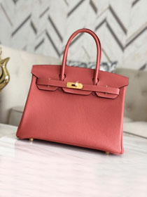 Hermes original togo leather birkin 30 bag H30-1 red bean