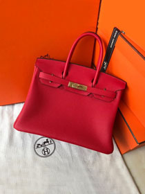 Hermes original togo leather birkin 30 bag H30-1 rouge garance