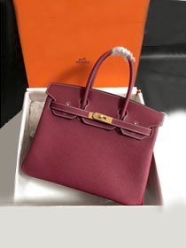 Hermes original togo leather birkin 30 bag H30-1 rouge grenat