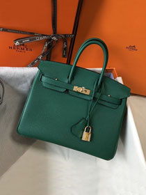 Hermes original togo leather birkin 30 bag H30-1 vert fonce