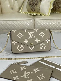 Louis vuitton original monogram calfskin felicie pochette M69977 grey