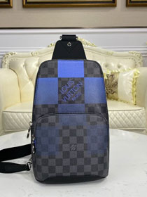 Louis vuitton original damier graphite avenue sling bag N40404 blue