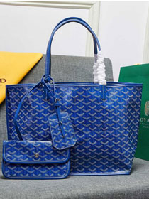 Goyard calfskin&canvas reversible anjou tote gm bag GY0023 blue