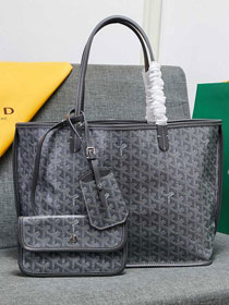 Goyard calfskin&canvas reversible anjou tote gm bag GY0023 grey