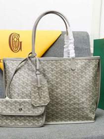 Goyard calfskin&canvas reversible anjou tote gm bag GY0023 light grey