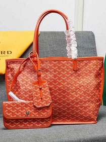 Goyard calfskin&canvas reversible anjou tote gm bag GY0023 orange