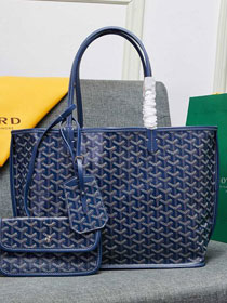 Goyard calfskin&canvas reversible anjou tote gm bag GY0023 dark blue