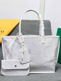 Goyard calfskin&canvas reversible anjou tote gm bag GY0023 white
