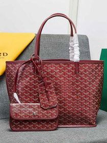 Goyard calfskin&canvas reversible anjou tote gm bag GY0023 wine red