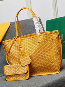 Goyard calfskin&canvas reversible anjou tote gm bag GY0023 yellow