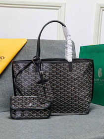 Goyard calfskin&canvas reversible anjou tote pm bag GY0024 black