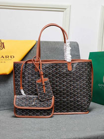 Goyard calfskin&canvas reversible anjou tote pm bag GY0024 black&brown
