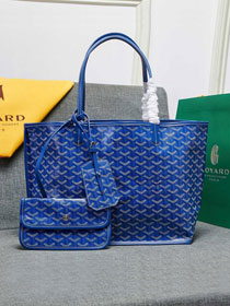 Goyard calfskin&canvas reversible anjou tote pm bag GY0024 blue