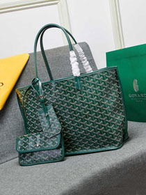 Goyard calfskin&canvas reversible anjou tote pm bag GY0024 green