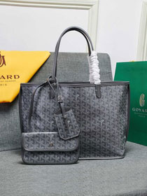 Goyard calfskin&canvas reversible anjou tote pm bag GY0024 grey