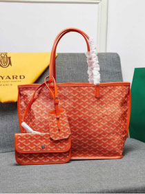 Goyard calfskin&canvas reversible anjou tote pm bag GY0024 orange