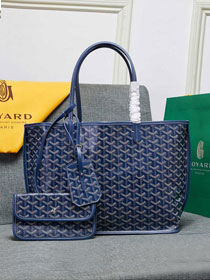 Goyard calfskin&canvas reversible anjou tote pm bag GY0024  royal blue