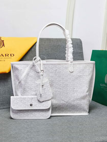 Goyard calfskin&canvas reversible anjou tote pm bag GY0024 white