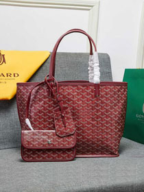 Goyard calfskin&canvas reversible anjou tote pm bag GY0024 wine red
