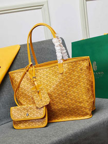Goyard calfskin&canvas reversible anjou tote pm bag GY0024 yellow
