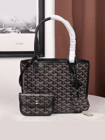 Goyard calfskin&canvas reversible mini anjou tote bag GY0022 black