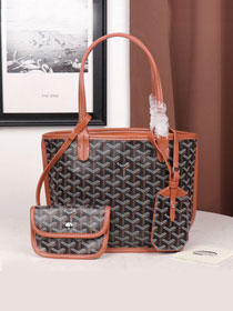 Goyard calfskin&canvas reversible mini anjou tote bag GY0022 black&brown