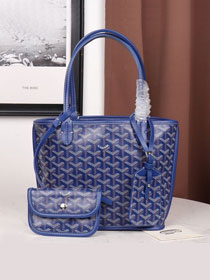 Goyard calfskin&canvas reversible mini anjou tote bag GY0022 blue