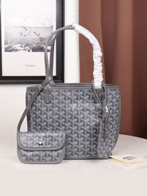 Goyard calfskin&canvas reversible mini anjou tote bag GY0022 grey