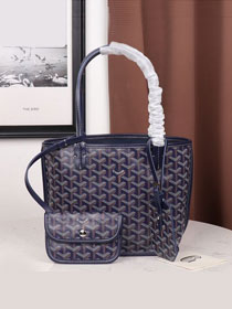 Goyard calfskin&canvas reversible mini anjou tote bag GY0022 royal blue