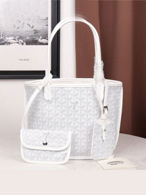 Goyard calfskin&canvas reversible mini anjou tote bag GY0022 white