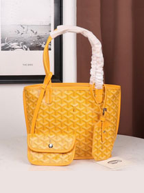 Goyard calfskin&canvas reversible mini anjou tote bag GY0022 yellow