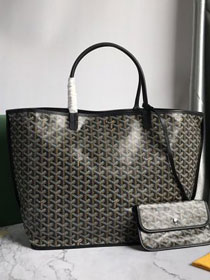 Goyard original calfskin&canvas reversible anjou tote gm bag GY0029 black