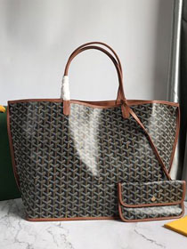 Goyard original calfskin&canvas reversible anjou tote gm bag GY0029 black&brown