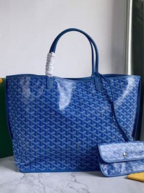 Goyard original calfskin&canvas reversible anjou tote gm bag GY0029 blue