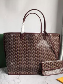 Goyard original calfskin&canvas reversible anjou tote gm bag GY0029 bordeaux