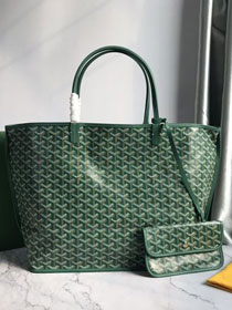 Goyard original calfskin&canvas reversible anjou tote gm bag GY0029 green